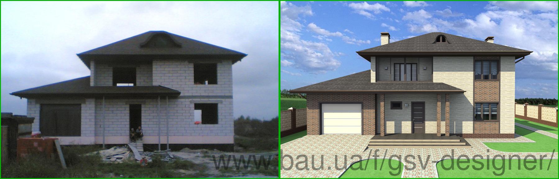 Дизайн фасада (экстерьер) с визуализацией и чертежами.