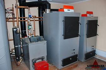 Топочная на двух основных твердотопливных пиролизных котлах VIESSMANN по 80 кВт, резервный - котел SIME на жидком...