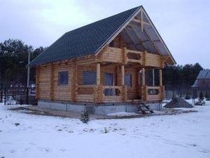 Строительство деревянных домов из оцилиндрованного бревна собственного производства разного диаметра. — Барановский ДОК СПК